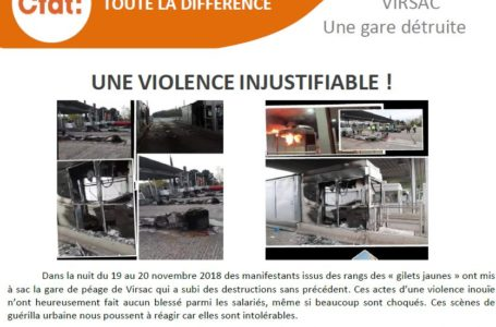 VIRSAC UNE GARE DETRUITE : une violence injustifiable