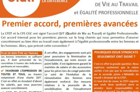 Signature ACCORD QVT / Médaille du Travail : 1er accord, 1ères avancées