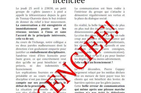 DRE AMP  Sandrine est licenciée