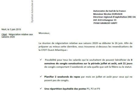 Négociation saisons 2020 :  les  REVENDICATIONS de la CFDT PCA