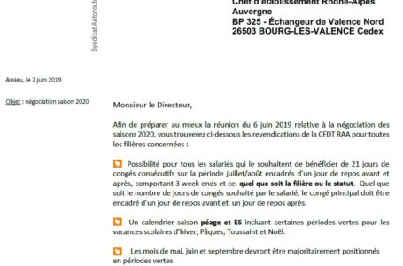 Négociation saisons 2020 :  les  REVENDICATIONS de la CFDT RAA