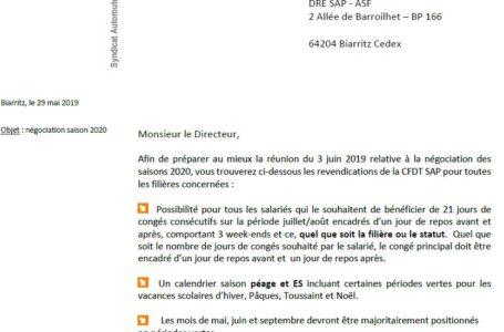 Négociation saisons 2020 :  les  REVENDICATIONS de la CFDT SAP