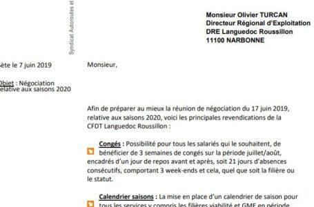 Négociation saisons 2020 : les REVENDICATIONS de la CFDT LR