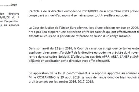 Courrier type application directive européenne congés