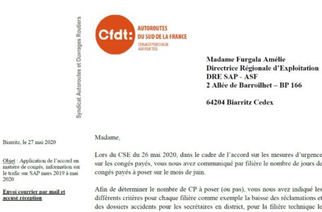 Suivi accord relatif aux mesures d'urgence en matière de congés et jours de repos : la CFDT  sollicite la Direction SAP
