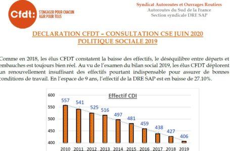 Politique Sociale DRE SAP. La CFDT donne un avis défavorable