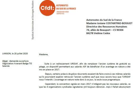 Badge TIS Salarié : parce que tous les salariés doivent pouvoir en bénéficier, la CFDT demande l'ouverture d'une négociation d'un avenant. La DRH accepte la demande. Cf courriers