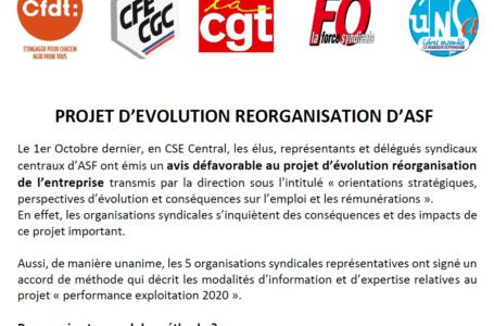 Réorganisation ASF : l'intersyndicale demande des expertises.
