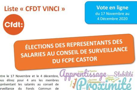Du 17 novembre au 4 décembre 2020, vous élirez vos représentants au Conseil de surveillance du FCPE CASTOR. Votez pour la liste CFDT !