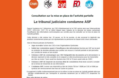 Mise en place de l'Activité Partielle : le tribunal condamne ASF. Tract de l'intersyndicale