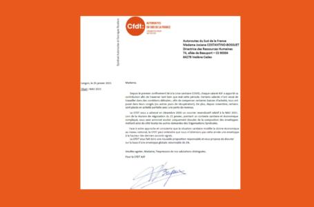2ème réunion NAO, 2ème courrier revendicatif de la CFDT.