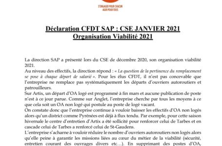 Organisation viabilité SAP : déclaration de la CFDT en CSE