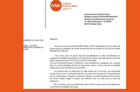 Primes médailles du travail : aprés avoir obtenu des avancées en 2018, la CFDT demande l'ouverture d'une nouvelle négociation. Notre courrier