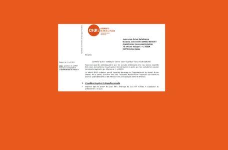 Ouverture de la négociation QVT. La CFDT liste ses demandes (non-exhaustives) par un courrier. Lire :