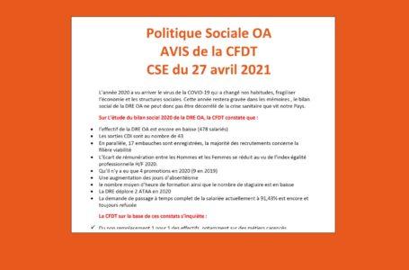 Politique Sociale OA 2020 : la CFDT émet un avis défavorable.