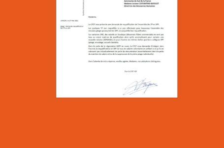 Filière péage : requalification des TP en SPP. La CFDT obtient l'ouverture d'une négociation. Notre courrier et la réponse de la DRH :