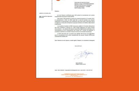 La CFDT demande l'ouverture d'une négociation sur la PEPA (Prime MACRON)